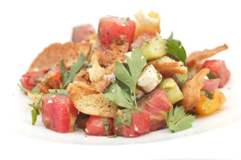 Johns Heirloom tomato panzanella