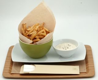 Parmesan and black pepper fries, Horseradish dip
