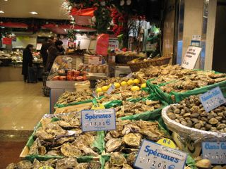 Shellfish at the market of Rue St Jacques